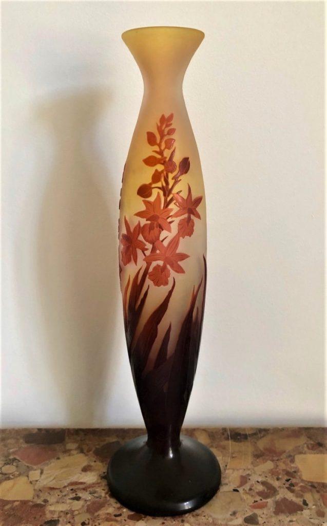 Vase Décor De Fleurs Signé Gallé