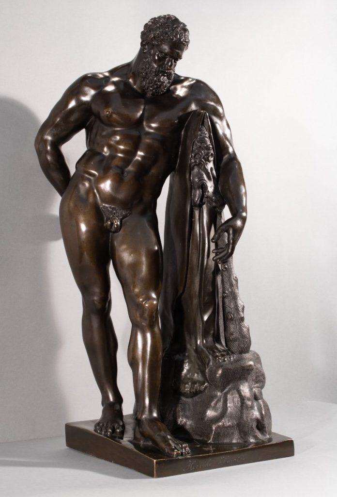 Hercule Farnèse. Sculpture En Bronze D'après L'antique, Italie XIXème Siècle